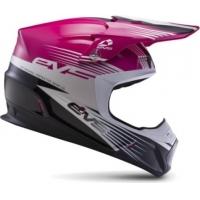 Capacete evs t5 works rosa/branco/preto