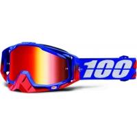 Óculos 100% racecraft republic lente espelhada vermelha