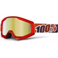 Óculos 100% strata fire red lente espelhada dourada