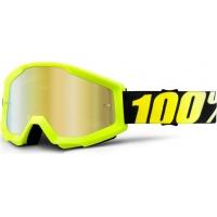 Óculos 100% strata yellow lente espelhada dourada